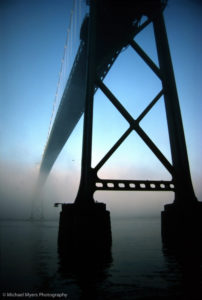 Lions Gate Bridge, Vancouver, water, fog